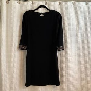 Laundry Black Dress with Beaded Sleeve